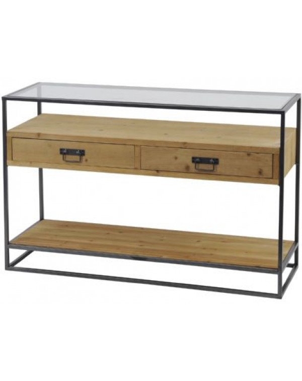 Libra Kempsey Fir Wood And Iron Console Table
